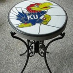 KU JAYHAWKS VERY NICE PATIO TABLE