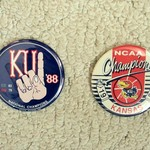 VINTAGE KU JAYHAWKS 1988 & 2008 NATIONAL CHAMPS BUTTONS