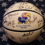 KU JAYHAWKS AUTHENTIC AUTOGRAPH BASKETBALL 2003-2004