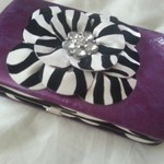 Purple zebra rhinstones wallet