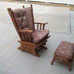Heavy Duty Real Wood Glider Rocker w/Foot Stool