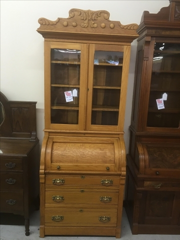 Beautiful Antique Cylinder Roll Top Oak Secretary Bookcase