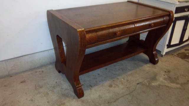 Antique oak library table  VERY NICE
