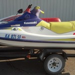 1996 2/3 person 750 STS Kawasaki Jetski and 2 Jetski Trailer