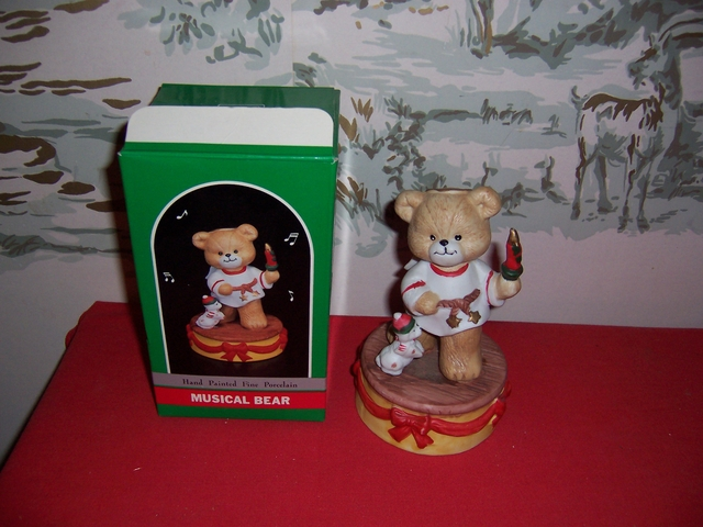 Christmas Musical Porcelain Bear