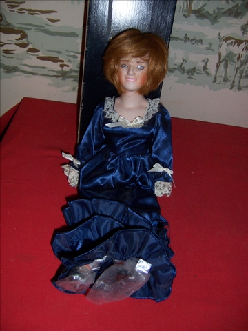 Collectible Princess Diana Porcelain Doll in box-Blue dress