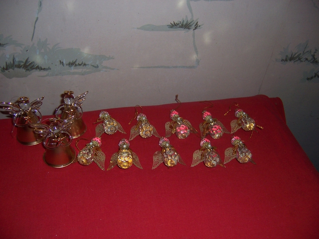 LOT of Angel Ornaments-10 glass, 3 gold holding star