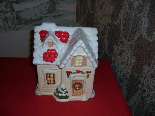 Ceramic Christmas Cottage Cookie Jar-9quot tall