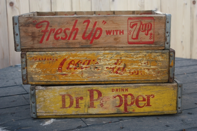 Vintage Coca-Cola, 7 up Soda Pop Wooden Crates