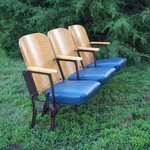 antique theater seats - movie theater chairs - set of three