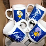 (4) 1970s MORTON SALT ADVERTISING PREMIUM COFFEE CUPS & Box