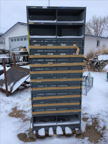 2ea. Used Equipto Parts Bins 36 Draws and 6 Cubbies
