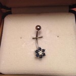 14k belly button ring with sapphires