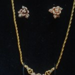 1996 Franklin Mint Rose of Love Earrings and Pendant