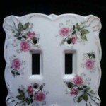 Lefton China Double Rose  Porcelain light switch plate