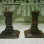 Pair of Wooden Pillar Candle Holders