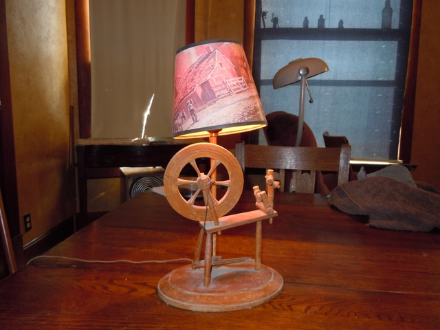 old spinning wheel lamp