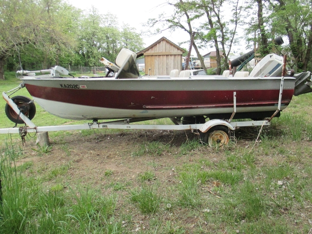 1957 Durocraft 15' aluminum boat w/motor & trailer - PTCI Classifieds