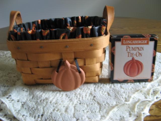 Longaberger basket pumpkin liner and pumpkin tie on Longaberger basket building for sale