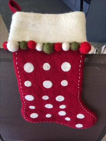 crate barrel red wool christmas stocking with ivory dots nex tech classifieds