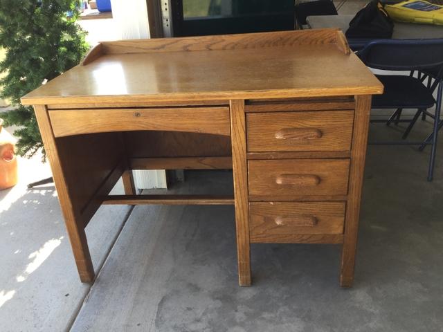 Contact Seller - Vintage Oak School Teacher's Desk - Nex-Tech Classifieds
