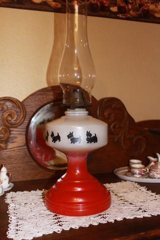Antique Scottie Dog Motif Oil Kerosene Lamp Discoverstuff